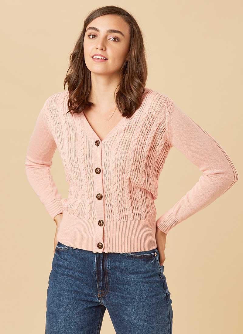 Linda Dusky Pink Cable Knit Cardigan Model Close-Up