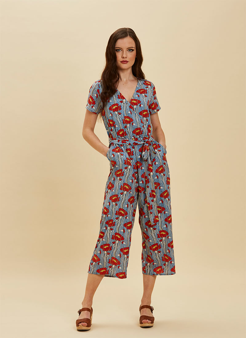 Lisa Poppy Print Wrap Front Jumpsuit - Blue