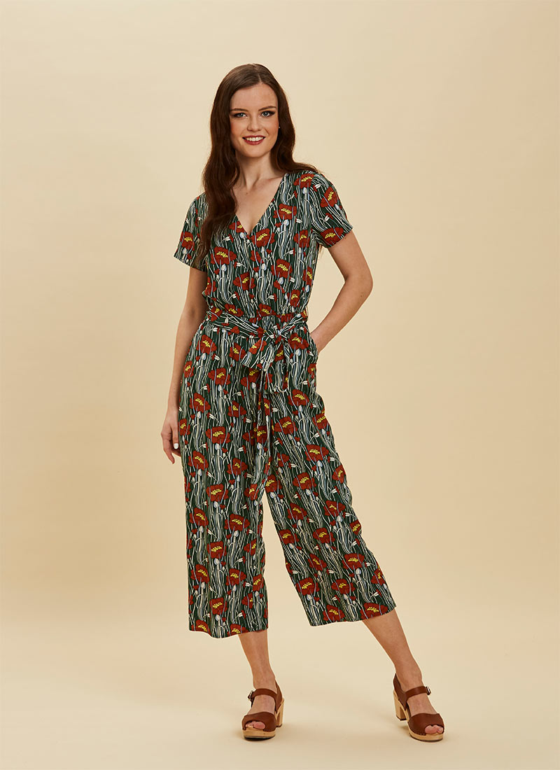 Lisa Poppy Print Wrap Front Jumpsuit - Green