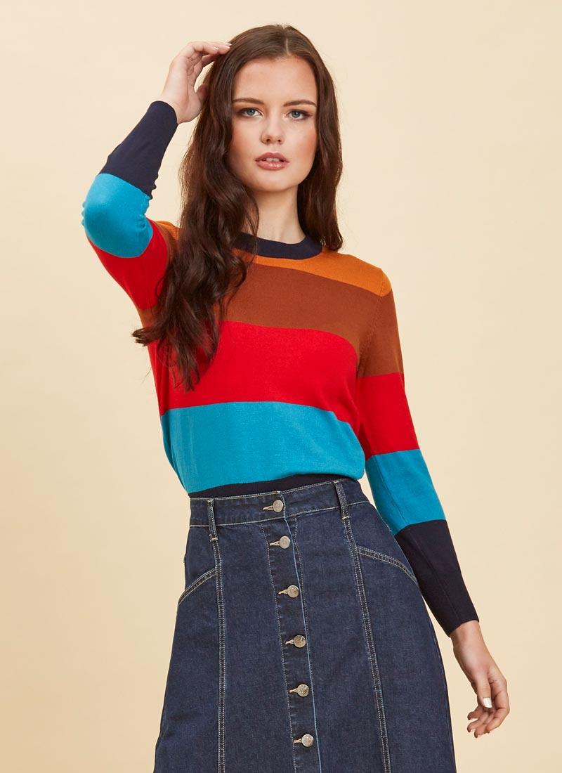 Loni Multicolour Bold Stripe Jumper Close-Up