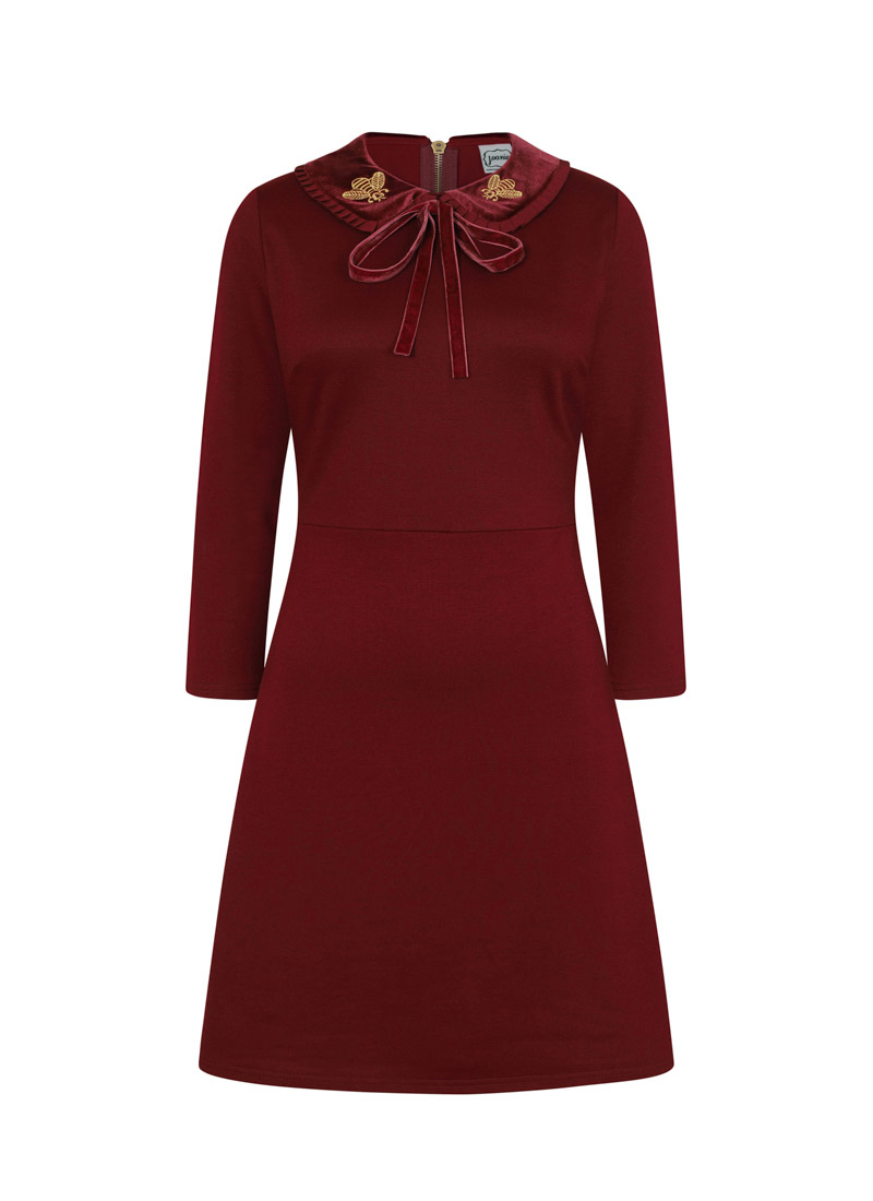 Loretta Red Embroidered Bee Collar Skater Dress Product Front