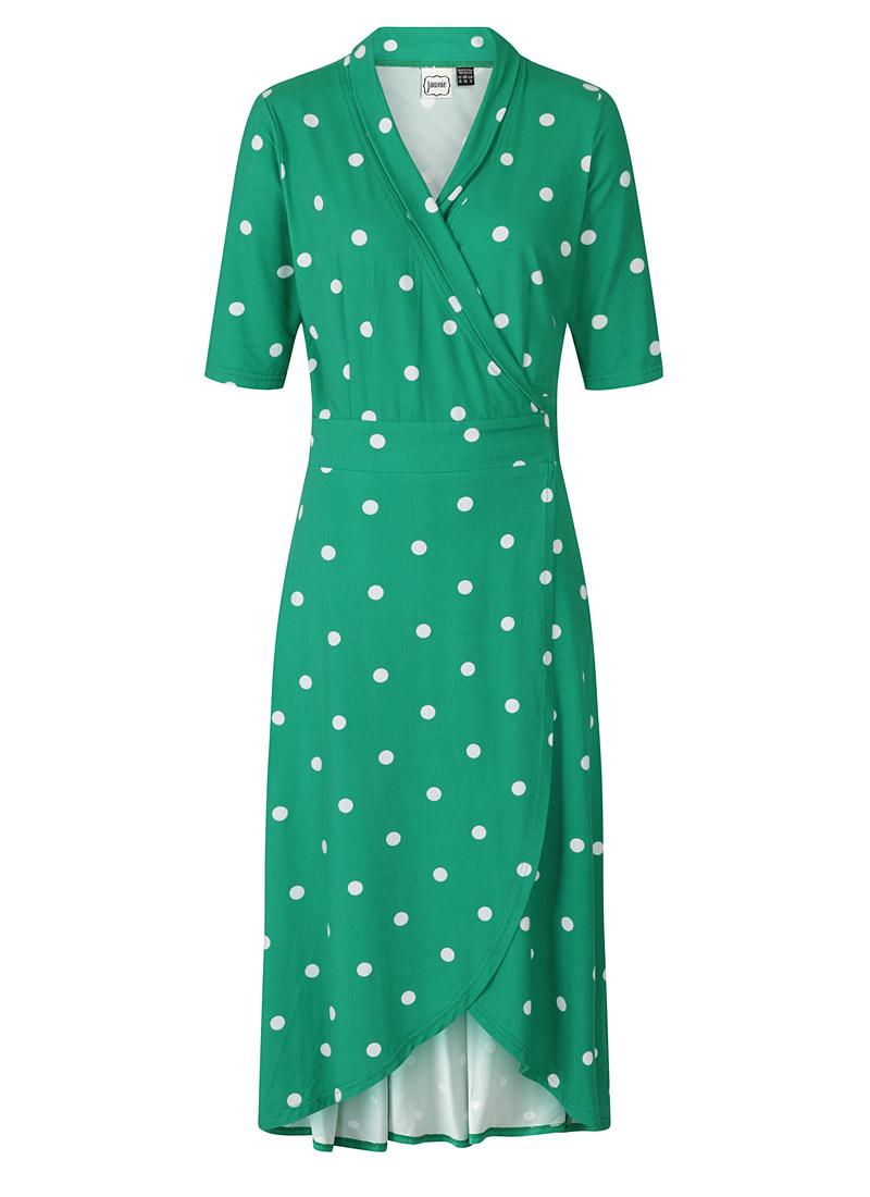 Lotta Green Polka Dot Jersey Wrap Dress Product Front