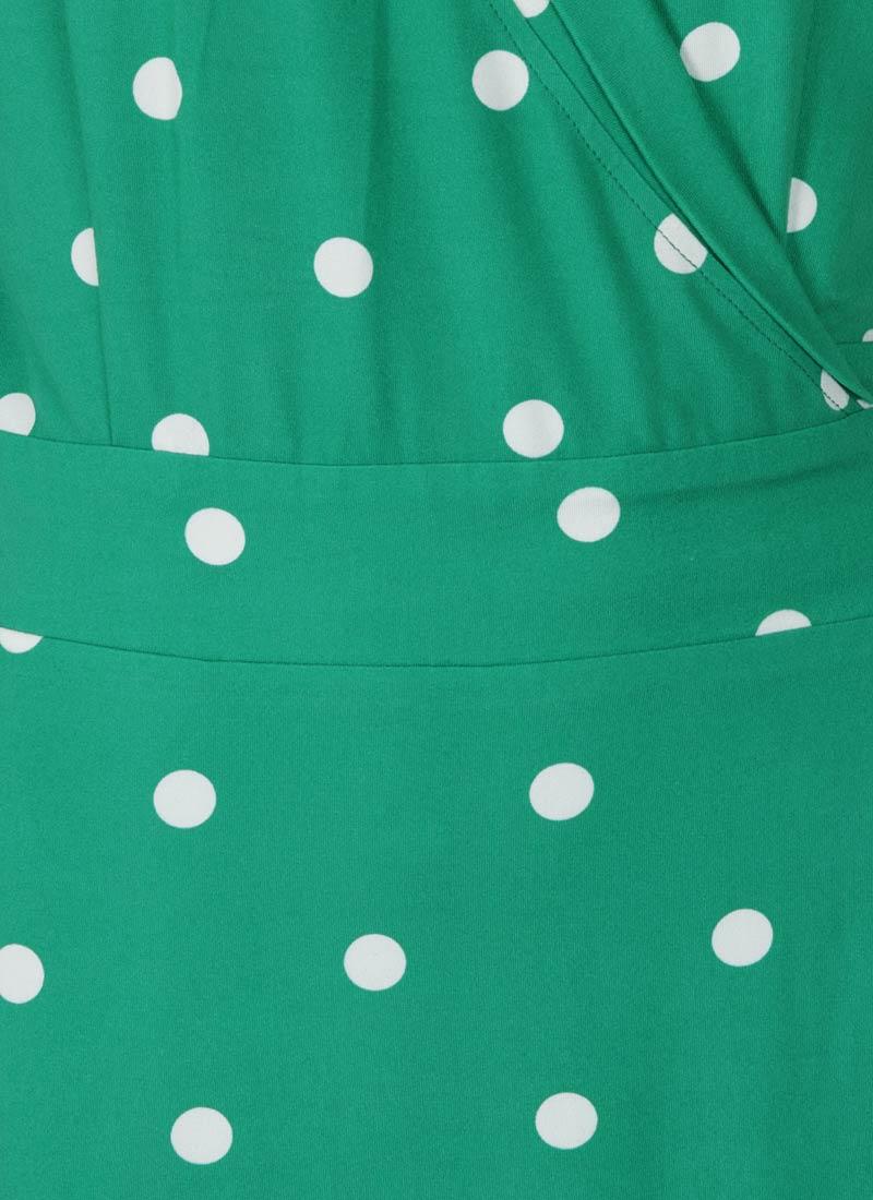 Lotta Green Polka Dot Jersey Wrap Dress