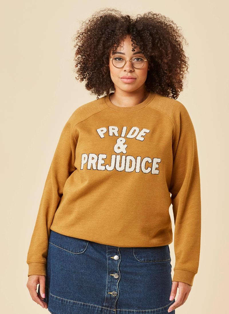 Lydia Pride & Prejudice Sweatshirt Model Close-Up