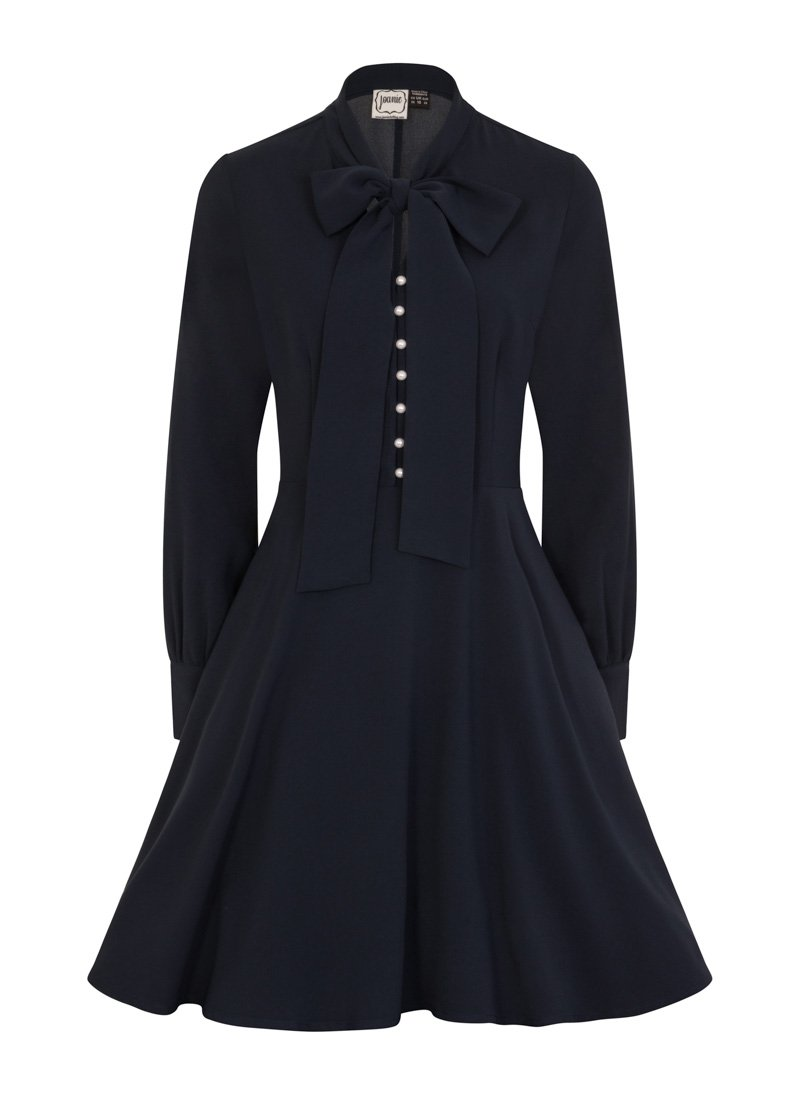 Macgraw Pussy Bow Dress Navy Product Front
