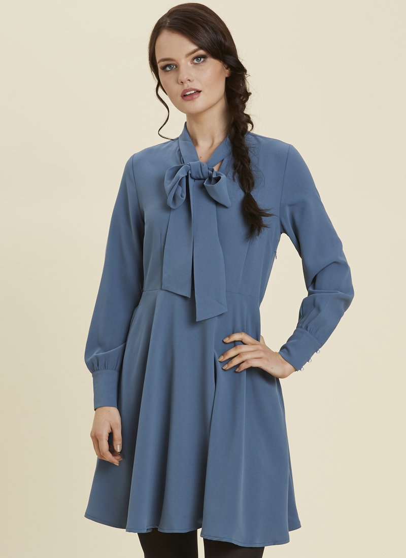 Macgraw Pussy Bow Pearl Button Dress Blue Model Front