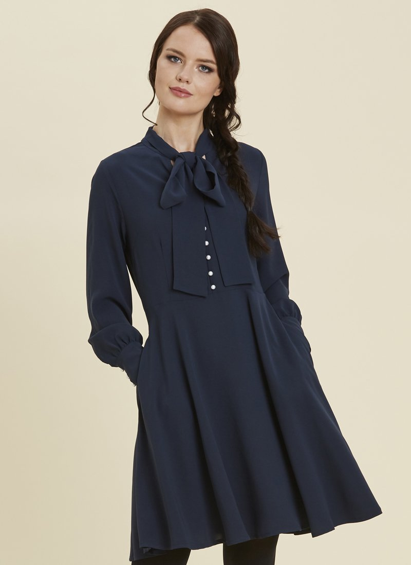 Macgraw Pussy Bow Dress Navy Model Close-Up