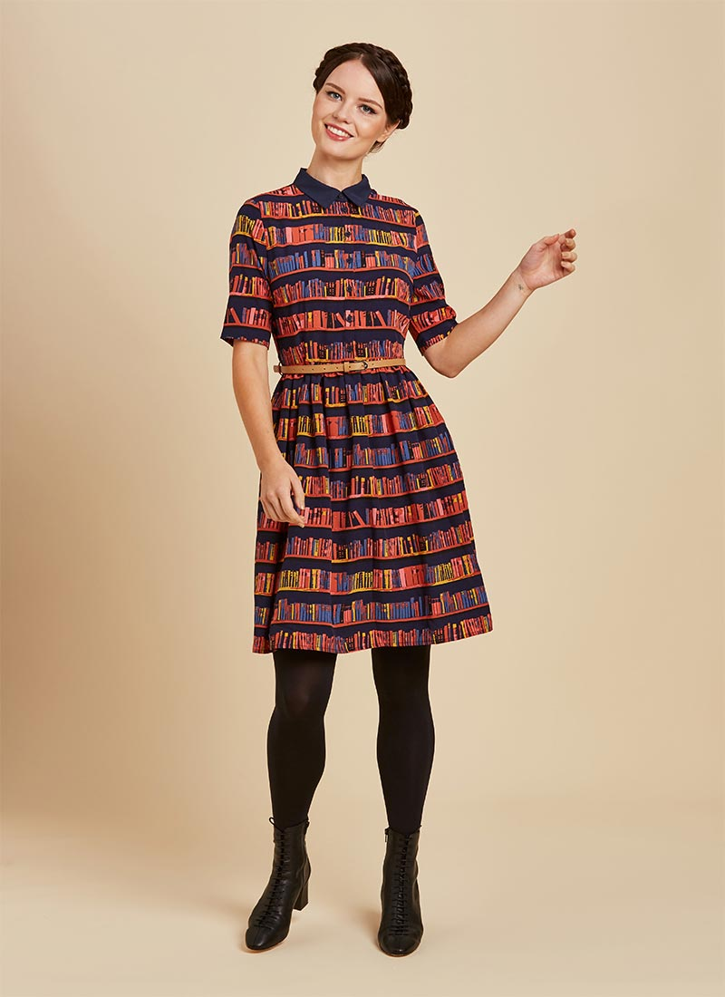 Martha Book Print Shirt Dress