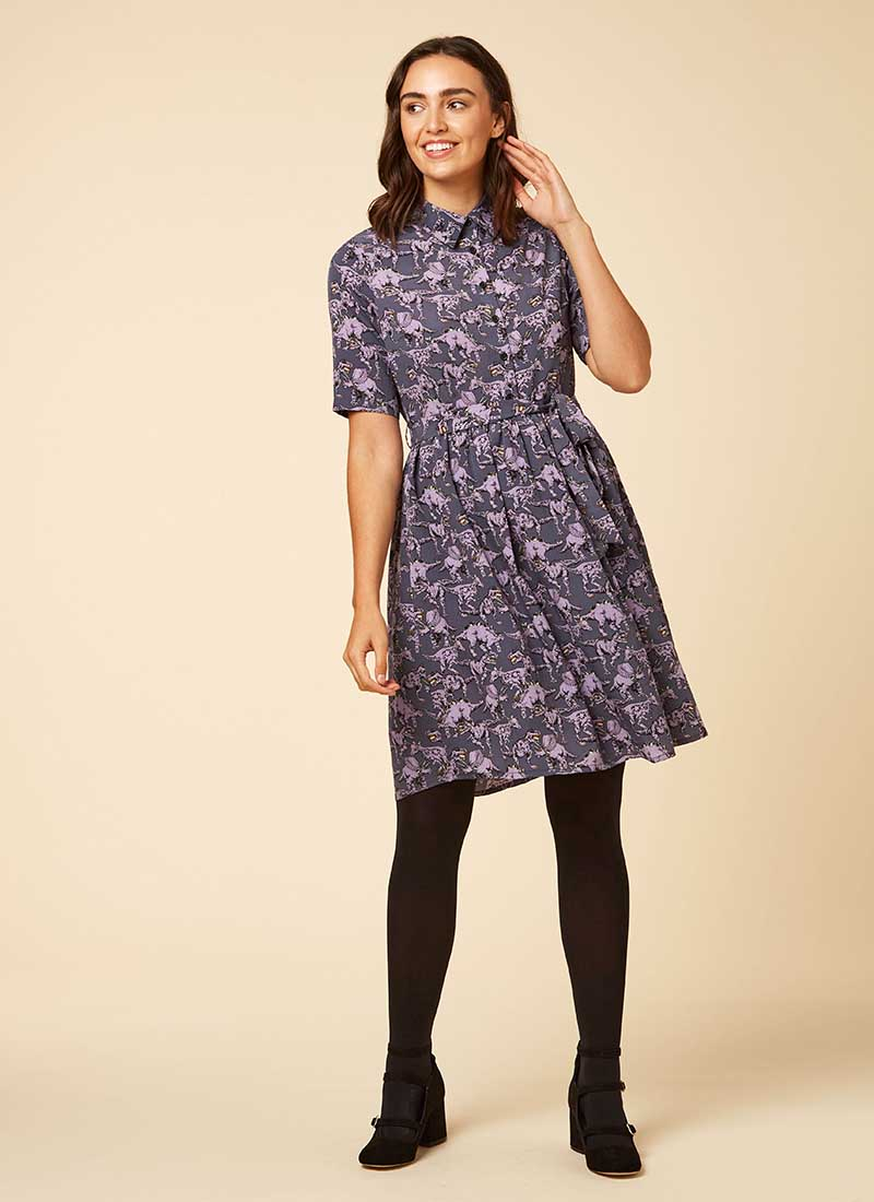 Martha Purple Dinosaur Print Shirt Dress Model Front