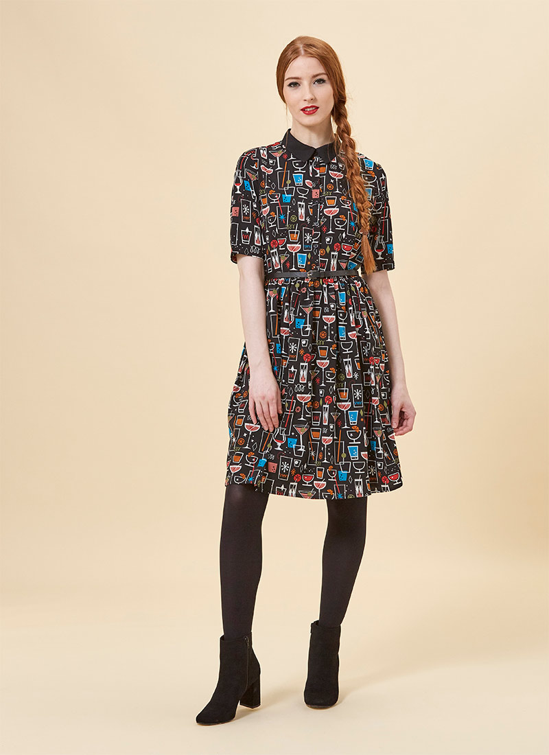 Martha Vintage Cocktail Print Dress