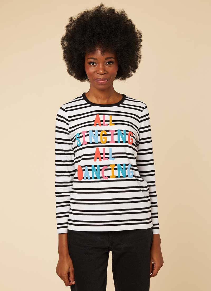 Melody Colourful Stripe Slogan Top Model Front