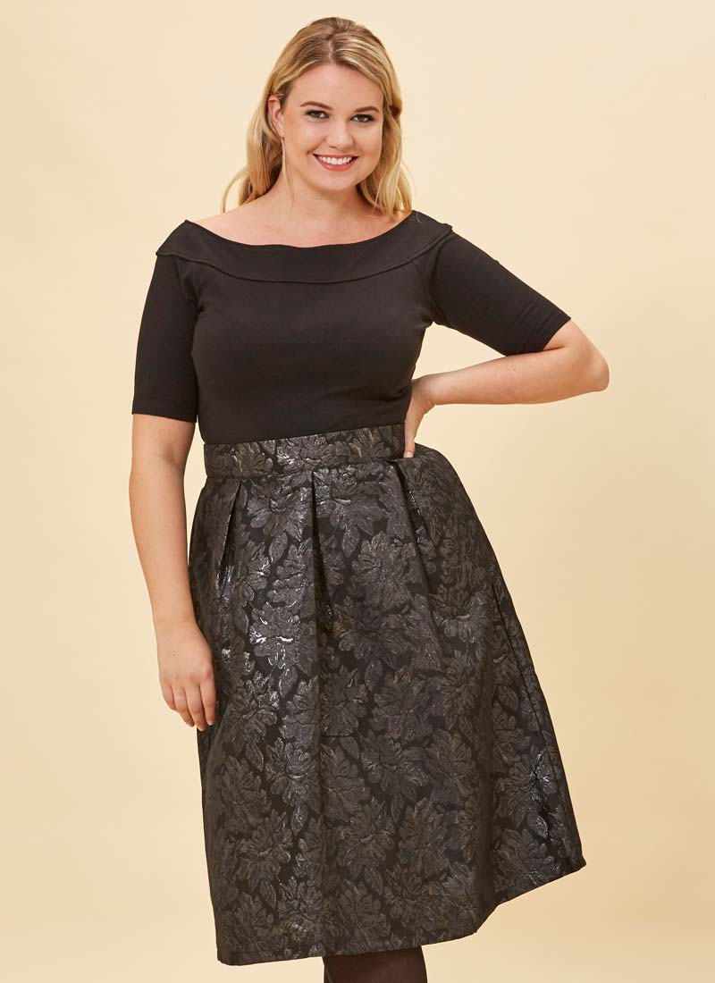 Mia Black Floral Jacquard Full Skirt Model Close-Up
