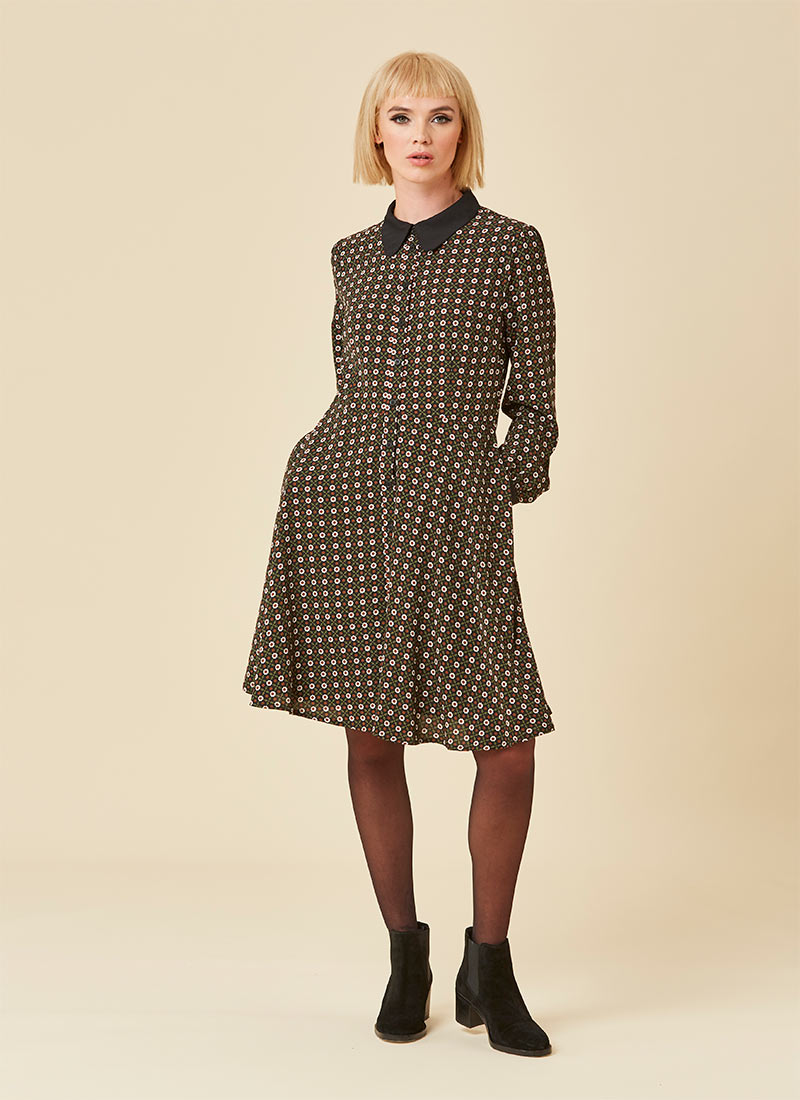 Millicent Printed Shirt Dress Model Front