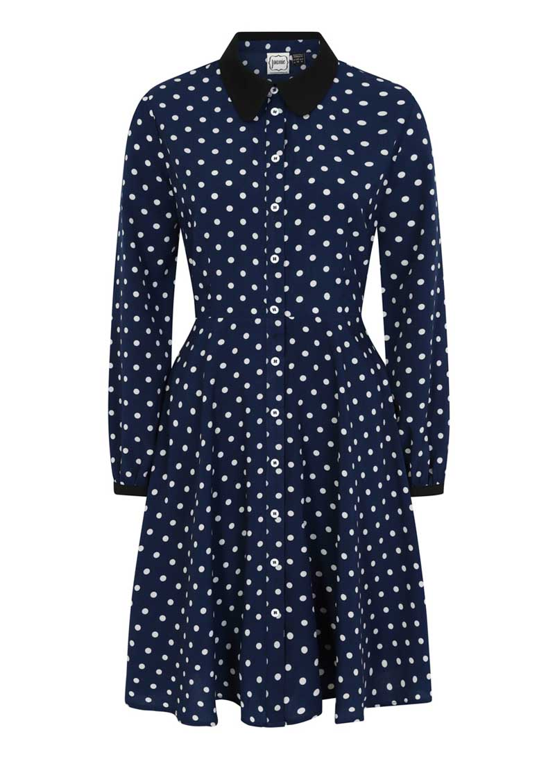 Millicent Polka Dot Shirt Dress Navy Product Front