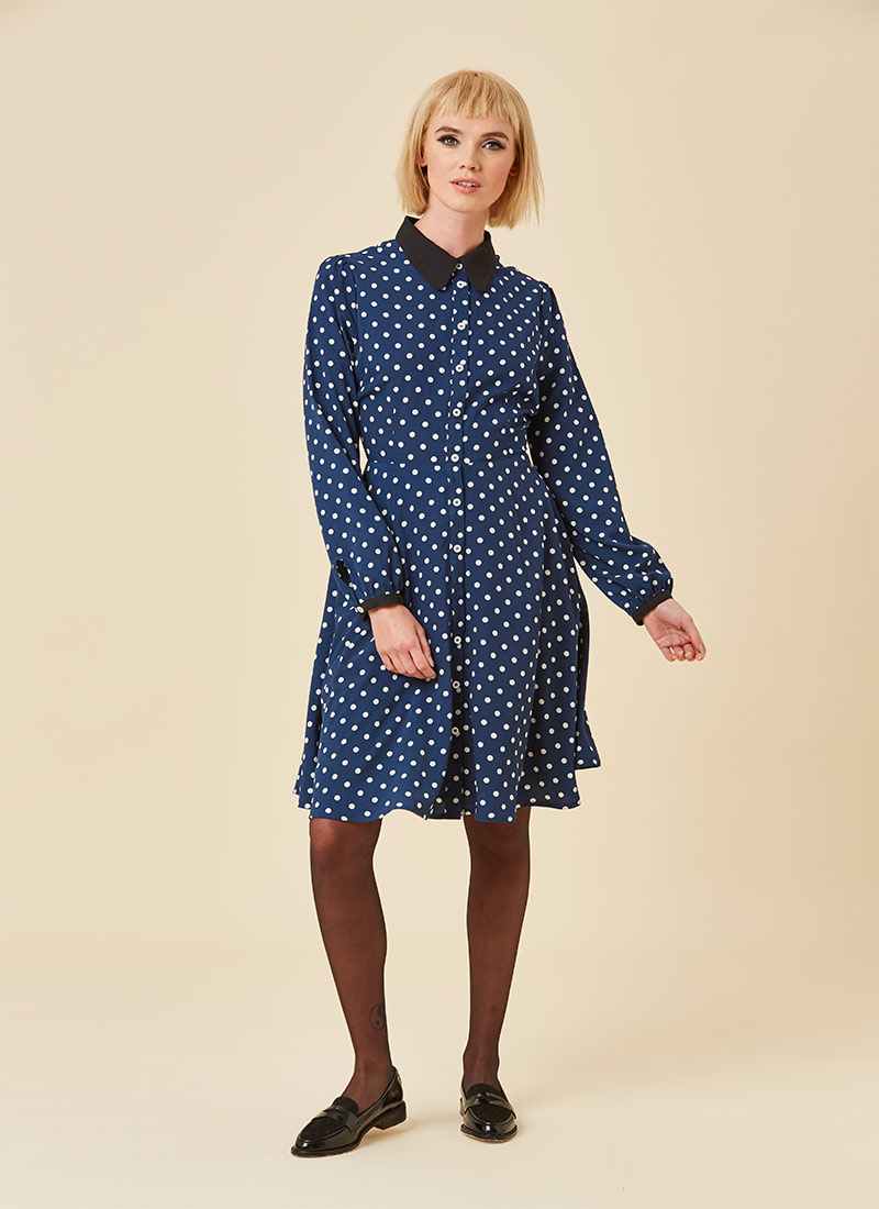 Millicent Polka Dot Shirt Dress - Navy