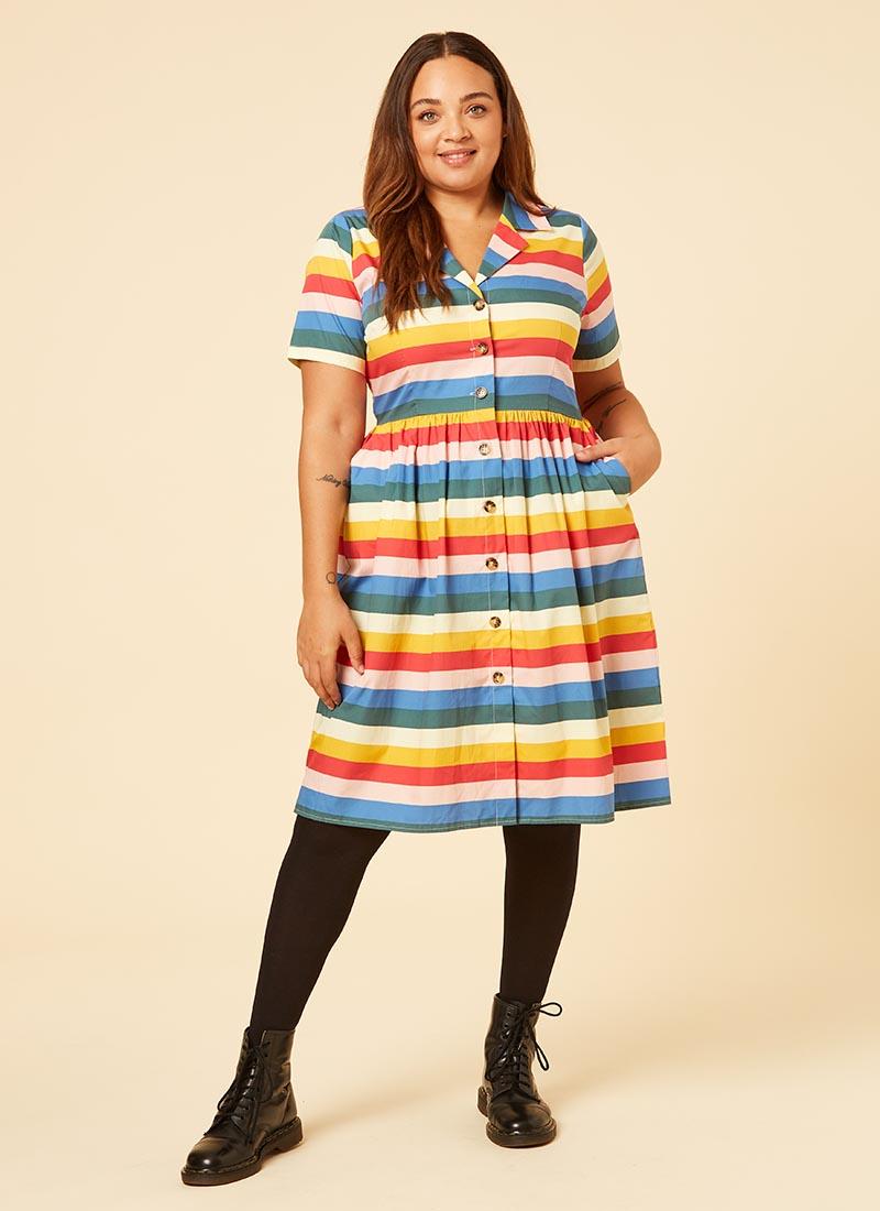 Montana Rainbow Stripe Cotton Shirt Dress Model Front