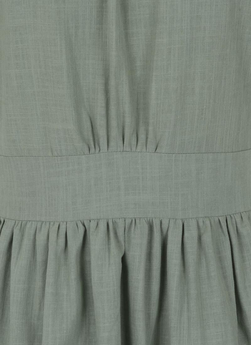 Natalie Button-Through Cotton Tea Dress - Green