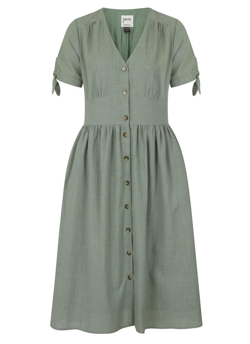 Natalie Green Button-Through Cotton Tea Dress Product Front
