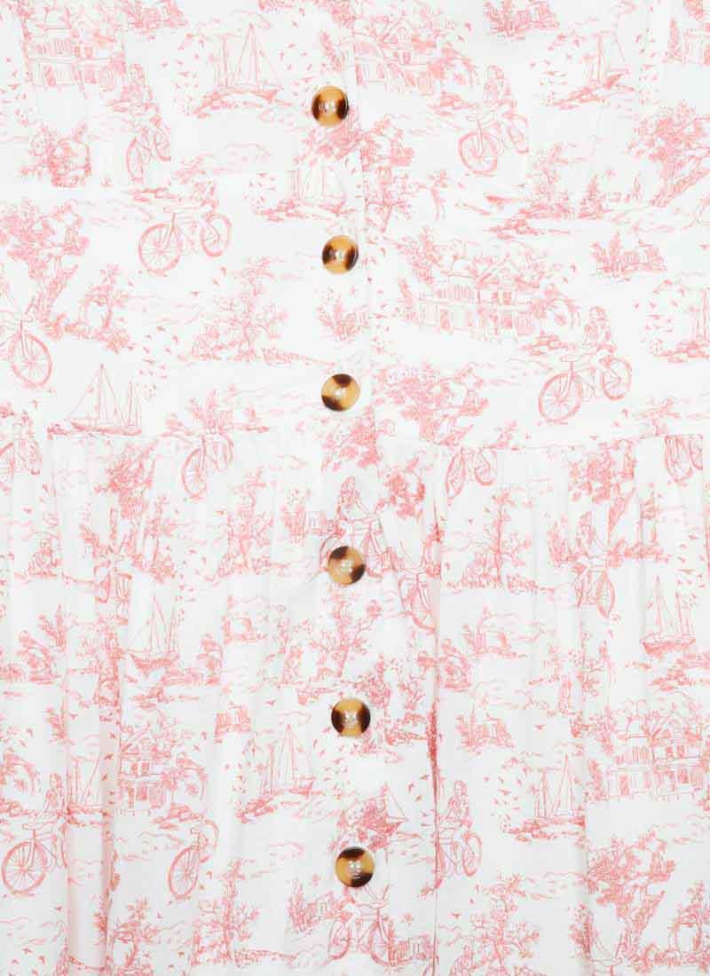 Natalie Toile De Jouy Print Tea Dress - Pink