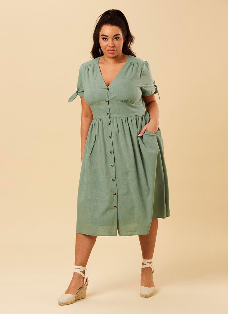 Natalie Green Button-Through Cotton Tea Dress Model Front