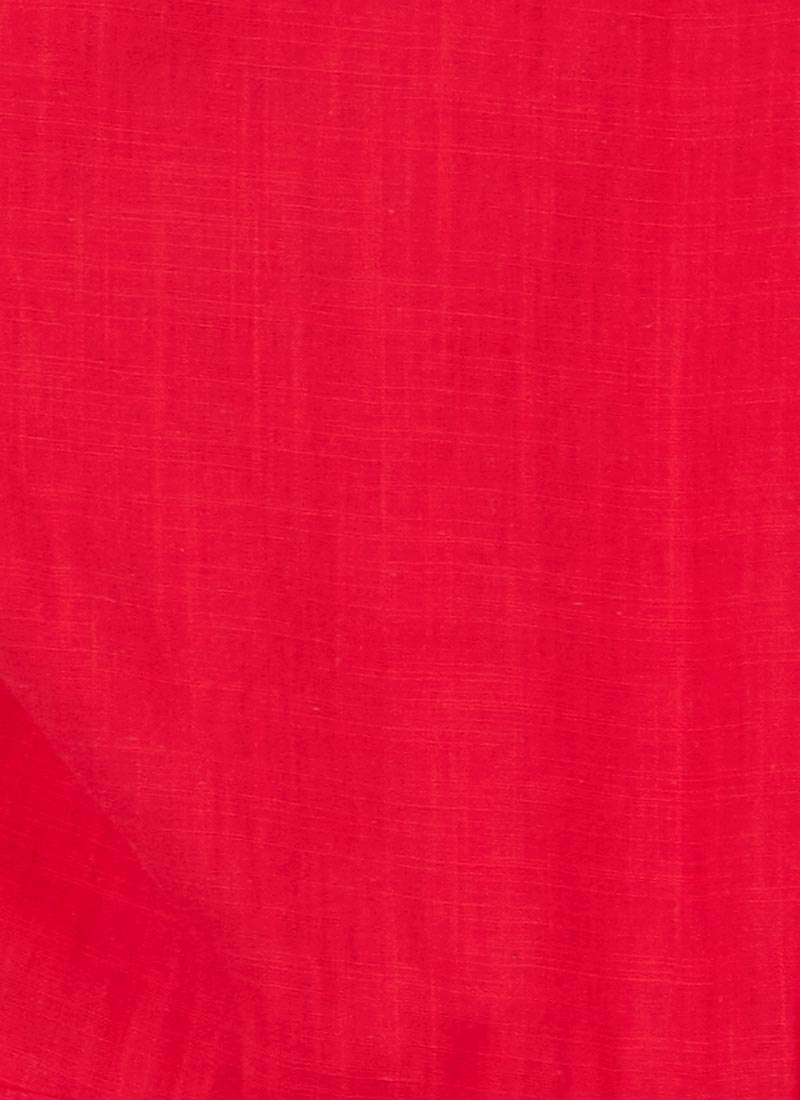 Natalie Button-Through Cotton Tea Dress - Red