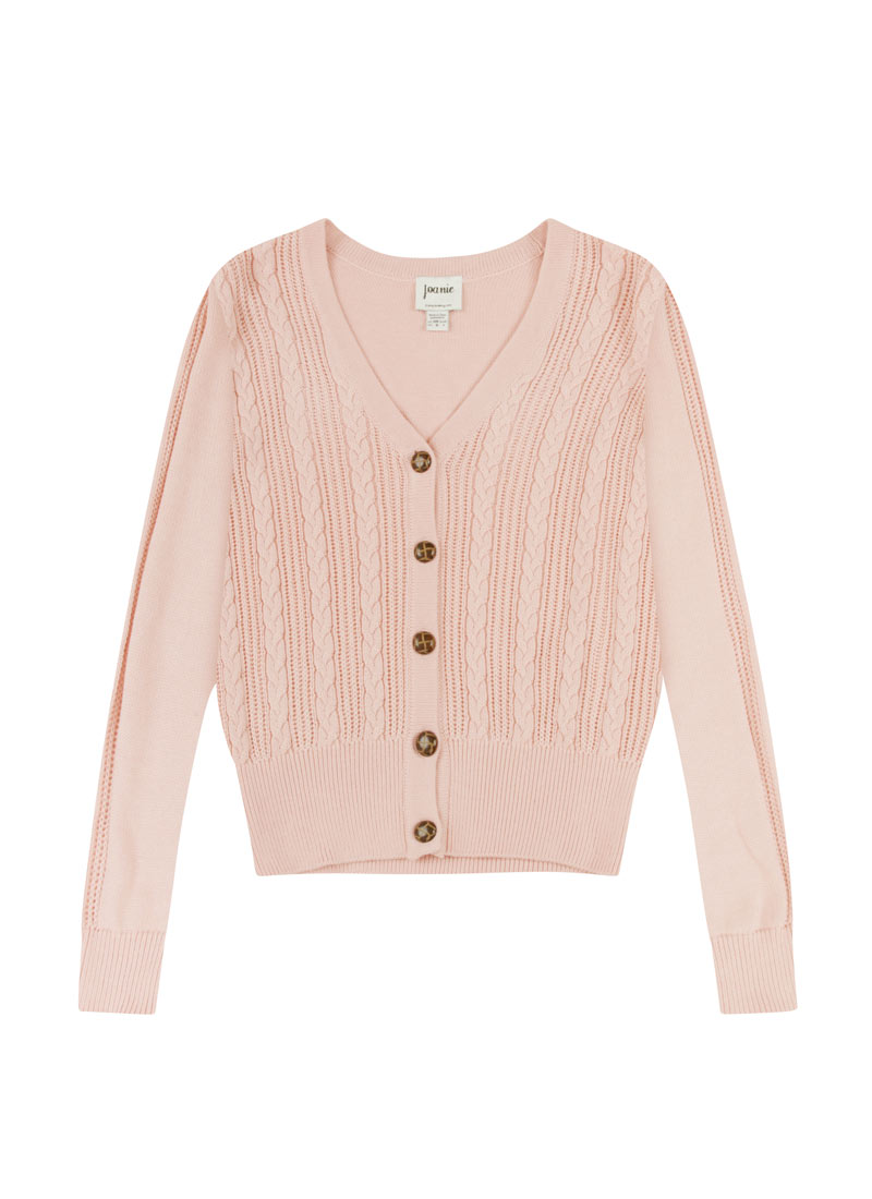 Linda Dusky Pink Cable Knit Cardigan Product Front