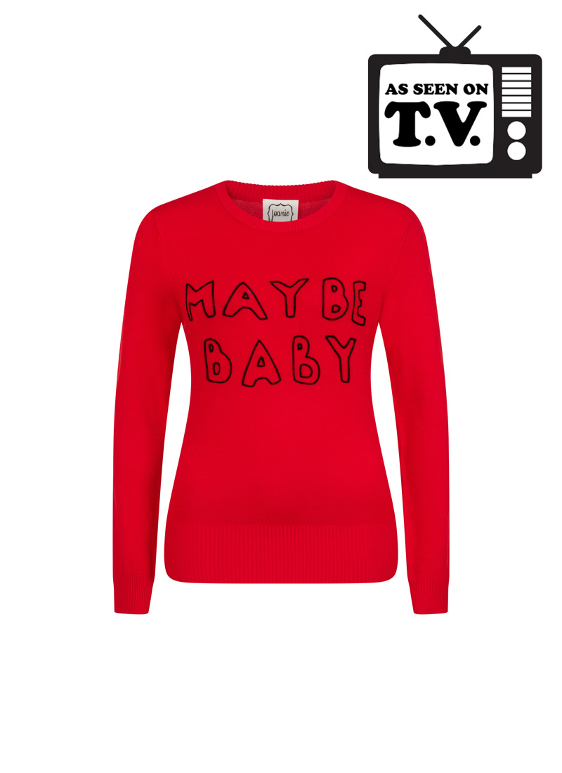Nikita Maybe Baby Slogan Knit Jumper Red Product Front