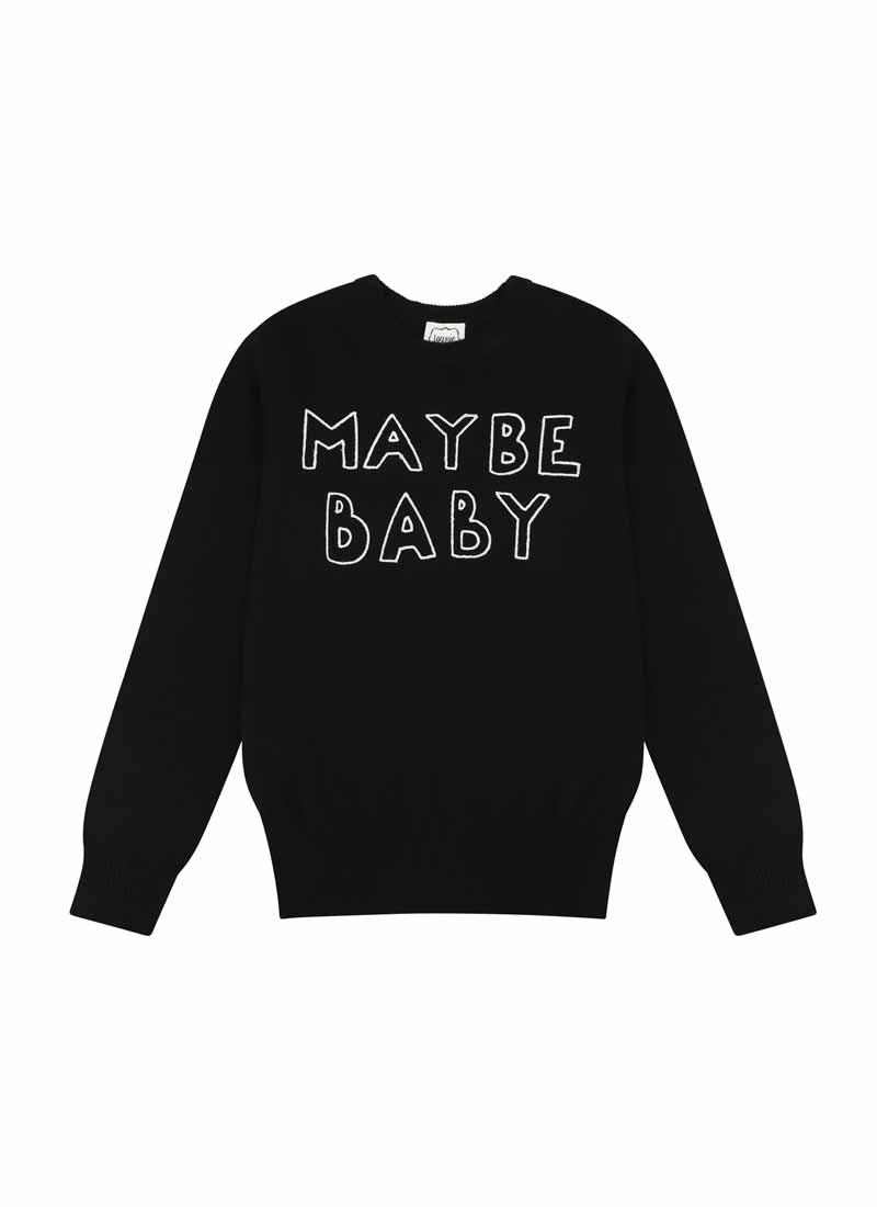 Nikita Maybe Baby Slogan Black Knit Jumper Product Front