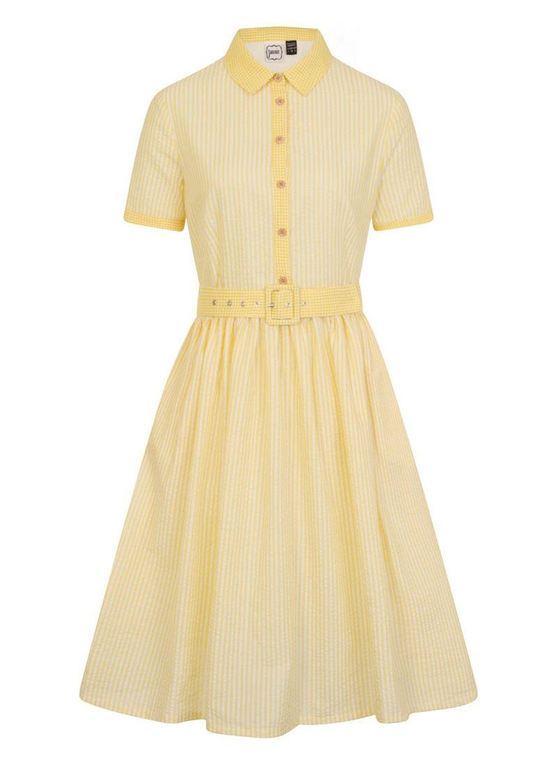 Noreen Yellow Stripe Belted Shirt Dress Product Front