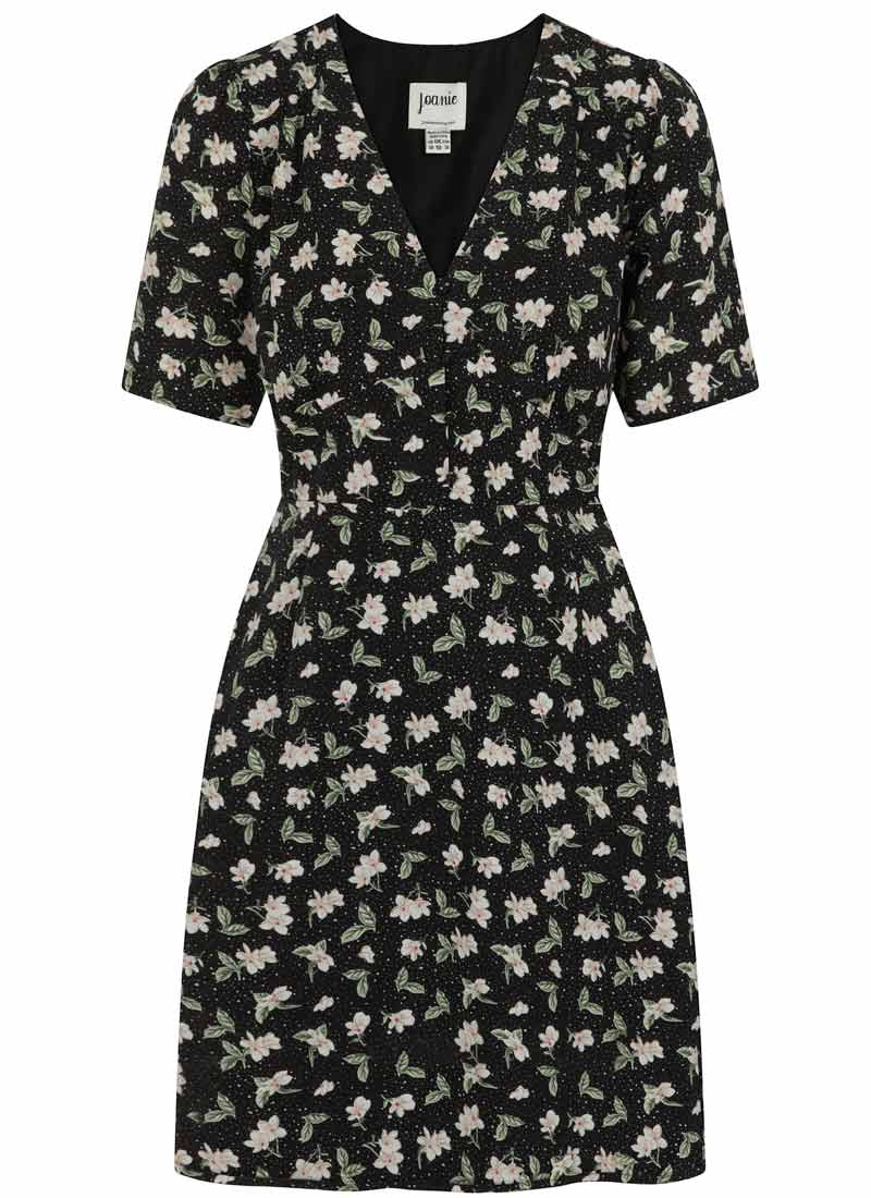 Otillie Black Ditsy Floral Print Tea Dress Product Front