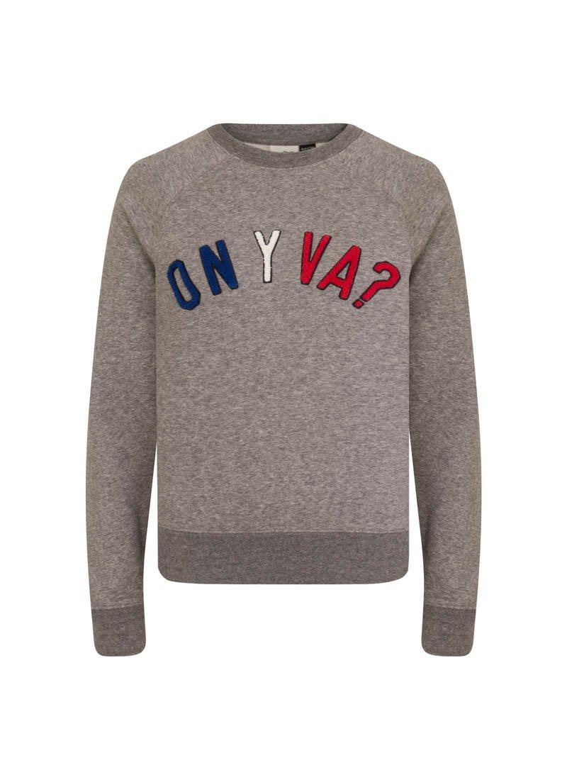 Paradis Grey On Y Va Slogan Sweatshirt Product Front