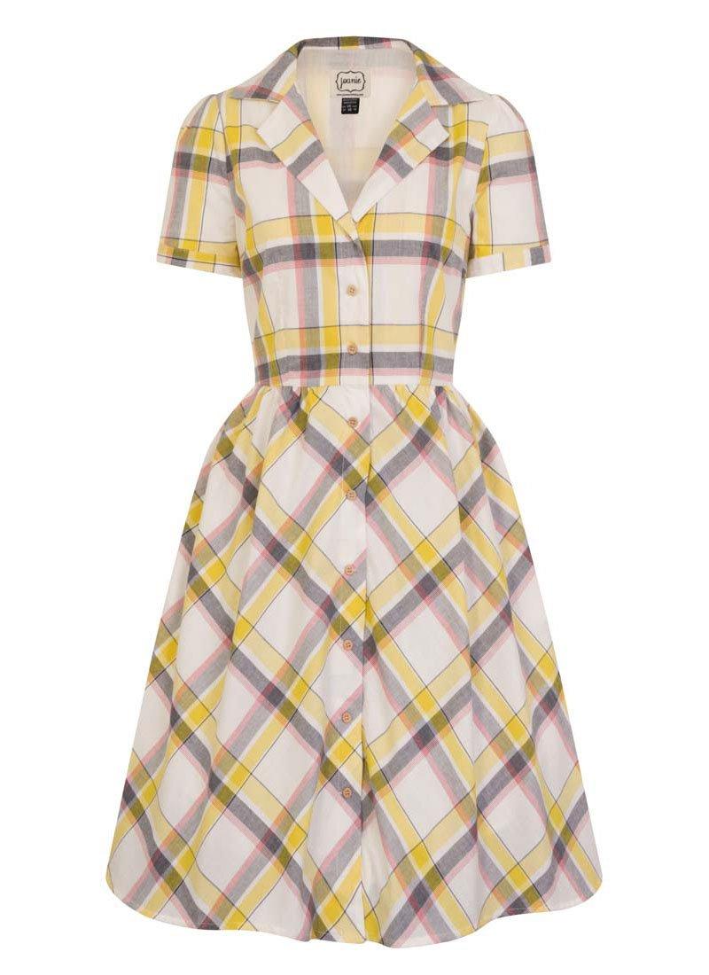Pepper Yellow Check Shirt Dress
