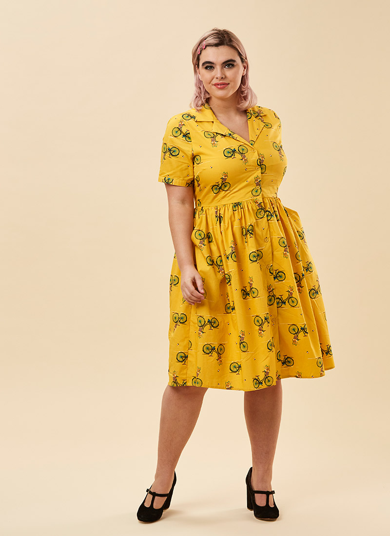 Pepper Bicycle Print Shirt Dress - Yellow