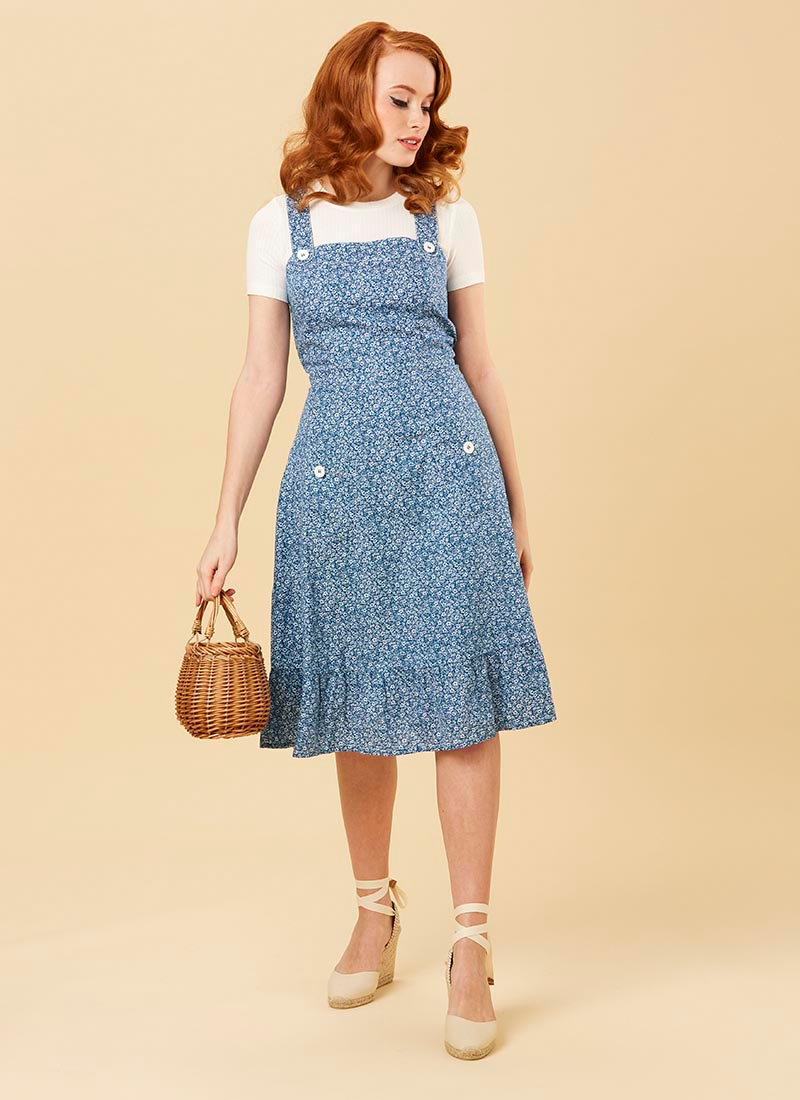 Purdy Blue Ditsy Print Cotton Pinafore Sundress Model Front