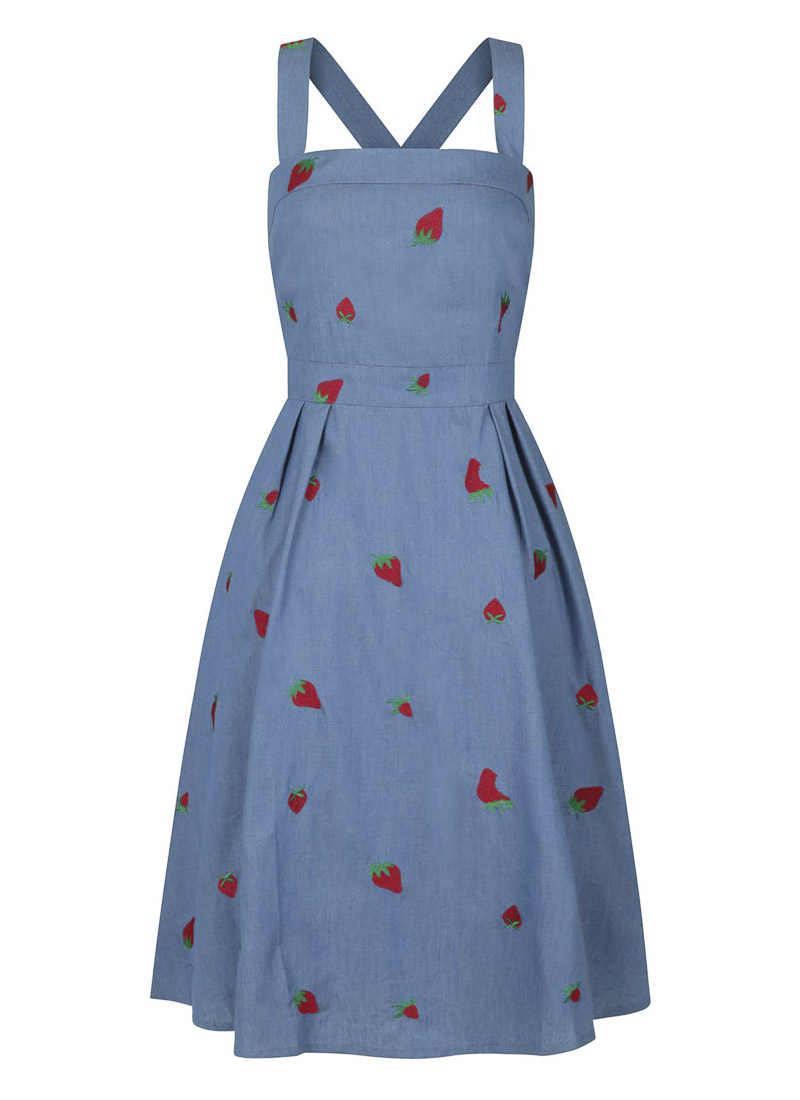 Petunia Embroidered Strawberry Chambray Sundress Product
