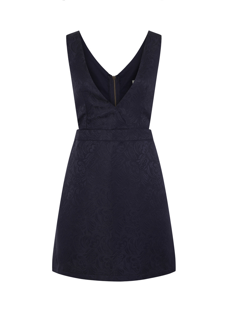 Prudence Jacquard Pinafore Dress - Navy