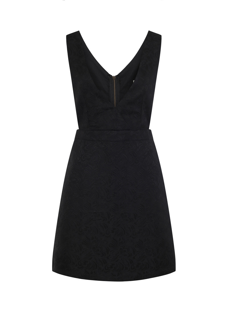 Prudence Jacquard Black Pinafore Dress Stripe Polo Neck Product Front