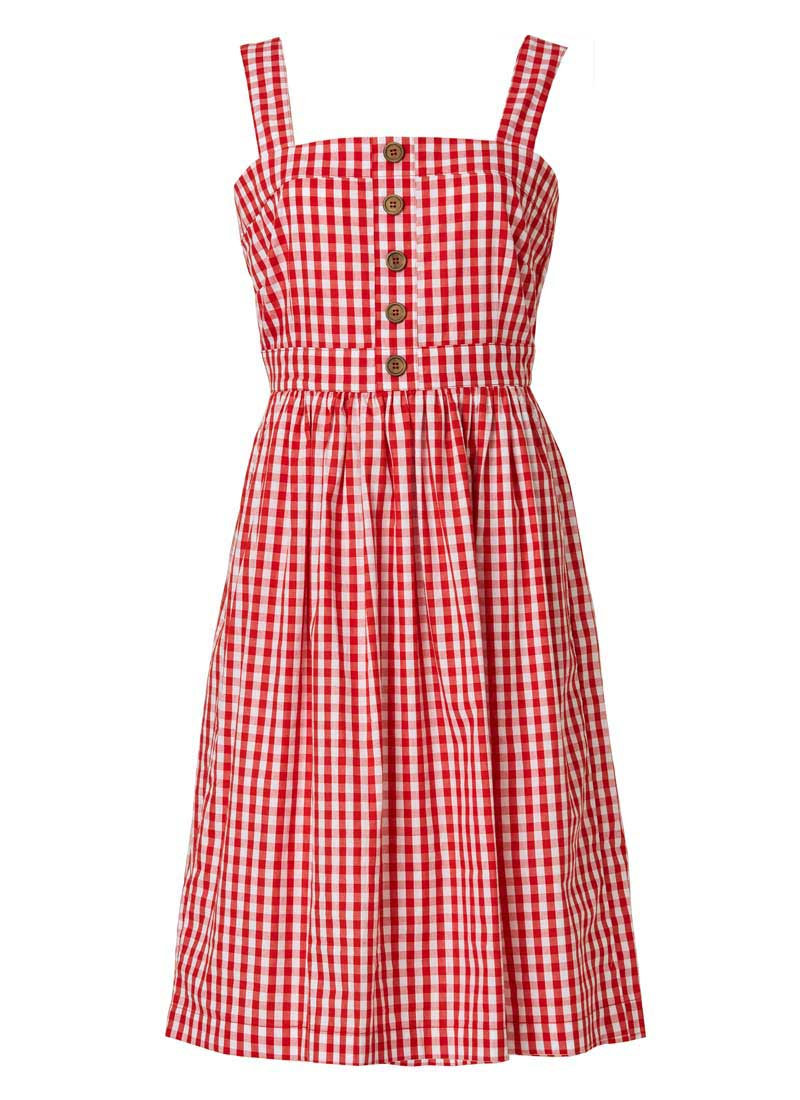 Rani Cotton Gingham Sundress Red Product Front