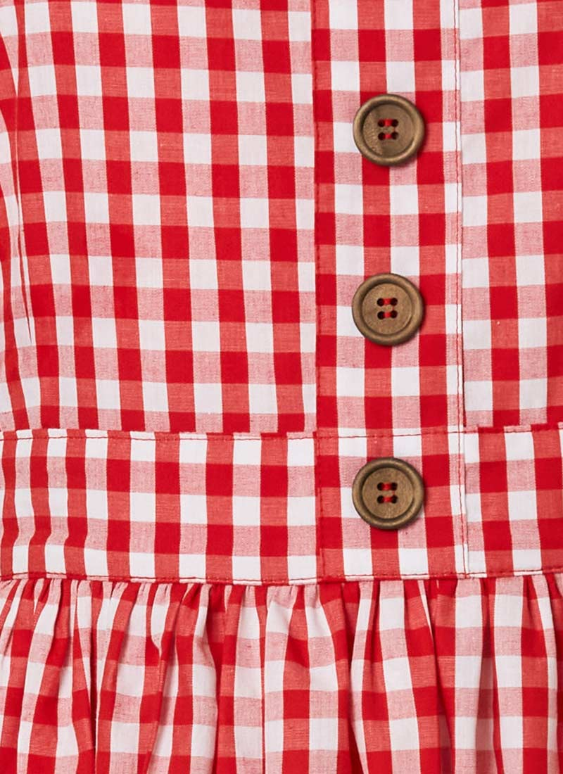 Rani Cotton Gingham Sundress - Red