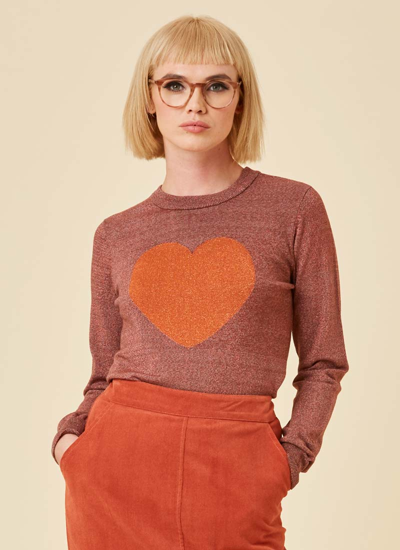Rivington Heart Intarsia Lurex Jumper Model Close-Up