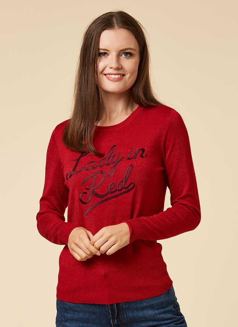 Roxanne Lady In Red Slogan Jumper Model Front