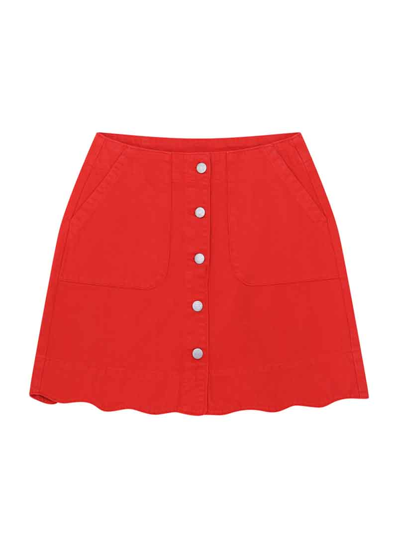 Sarah Scallop A-Line Denim Skirt Red Product Front