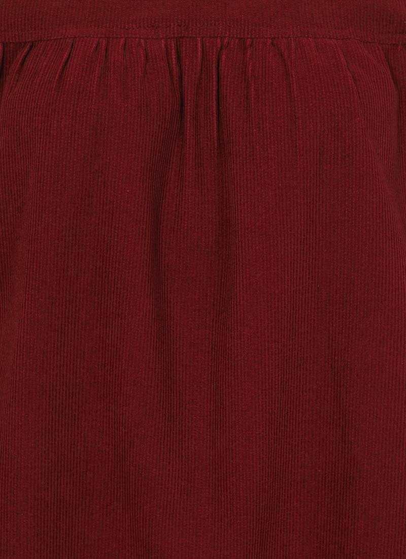 Sasha Cord Smock Dress - Cabernet