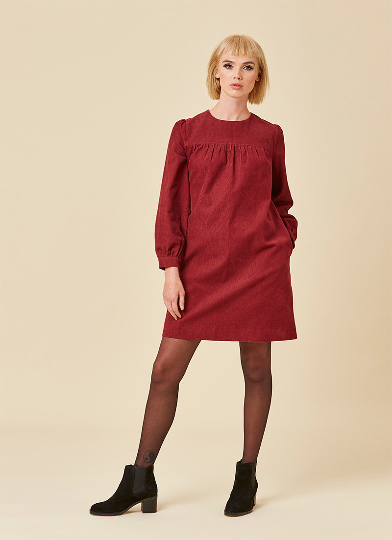 Sasha Cord Smock Dress Cabernet Model Front