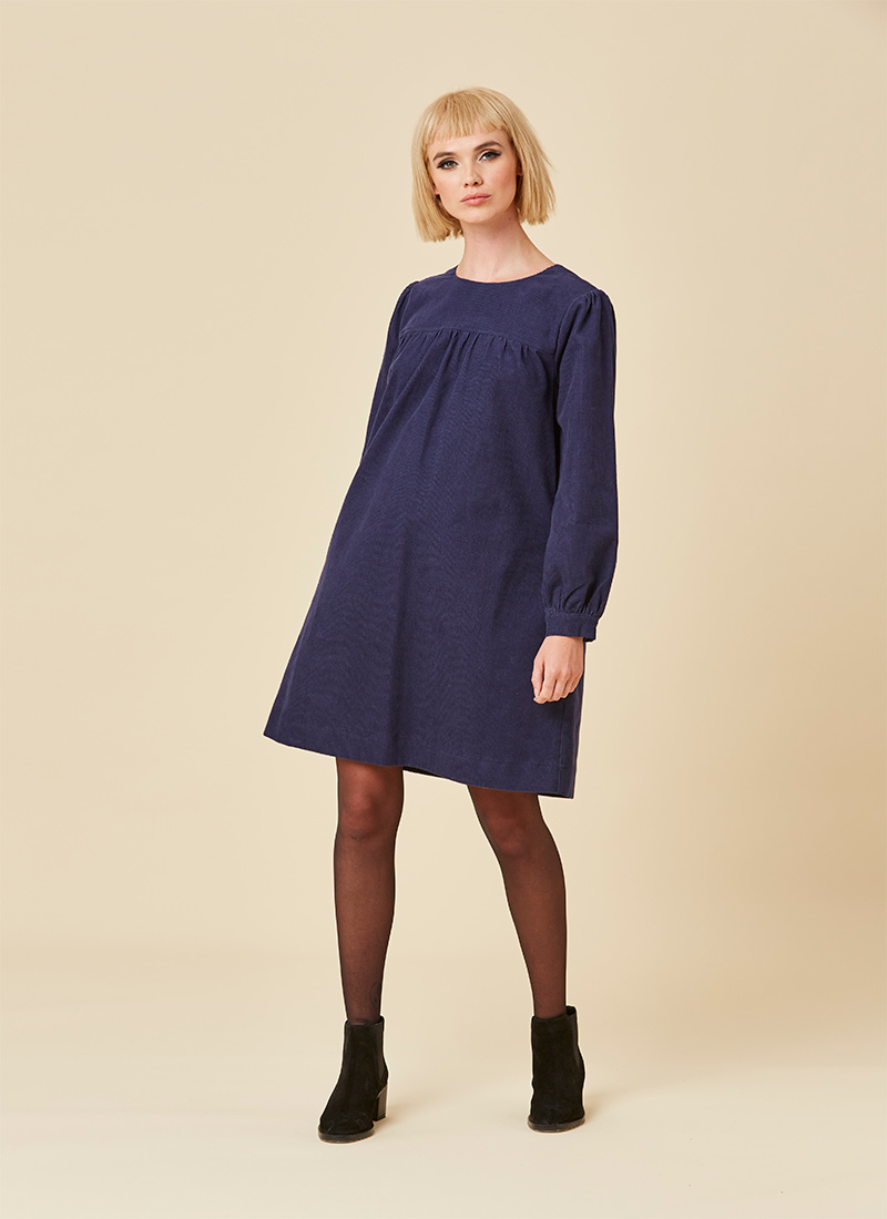Sasha Cord Smock Dress - Navy