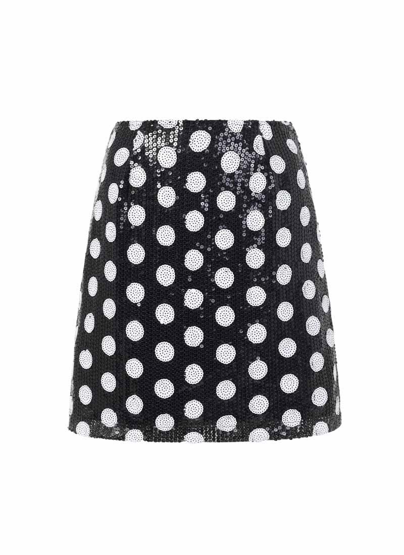 Scarlett Black and White Polka Dot Sequin Skirt Product Front