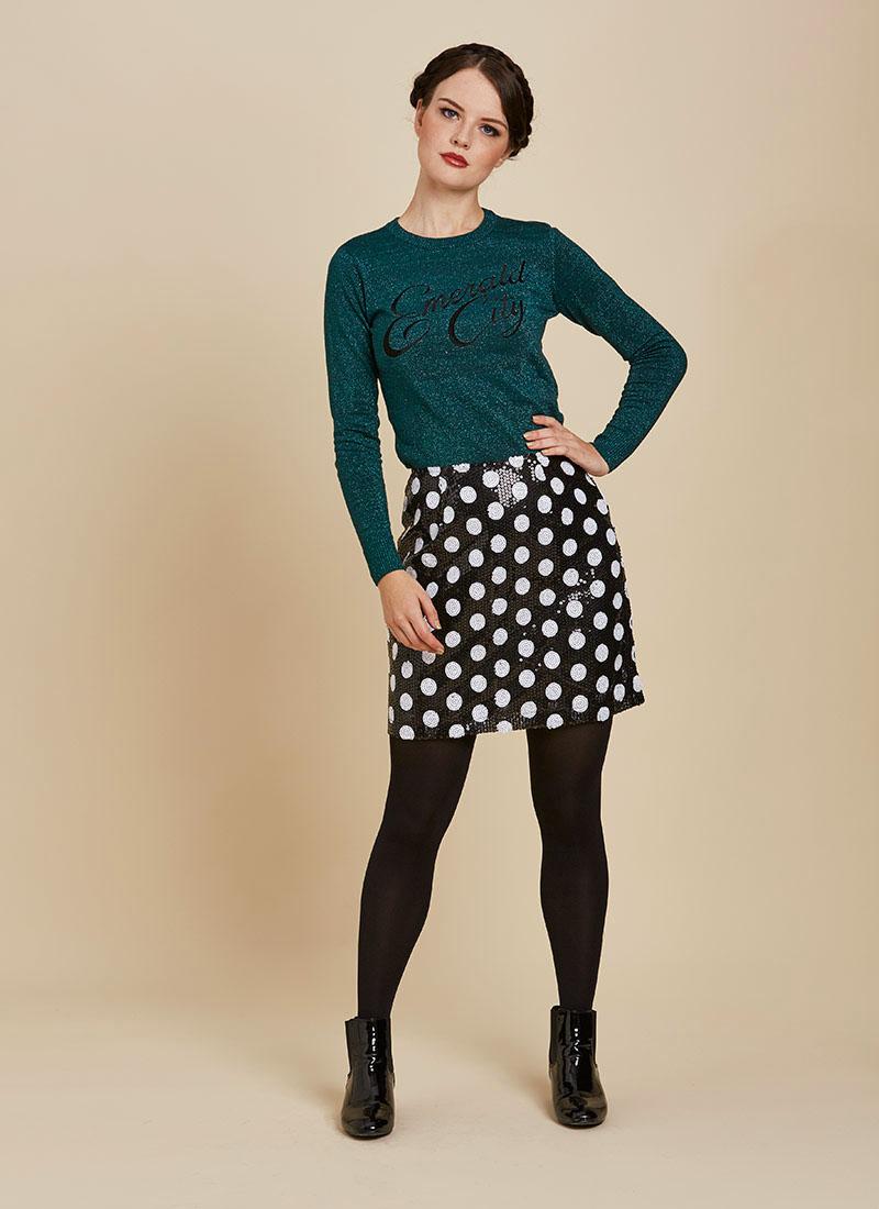 Scarlett Black and White Polka Dot Sequin Skirt Full Front View