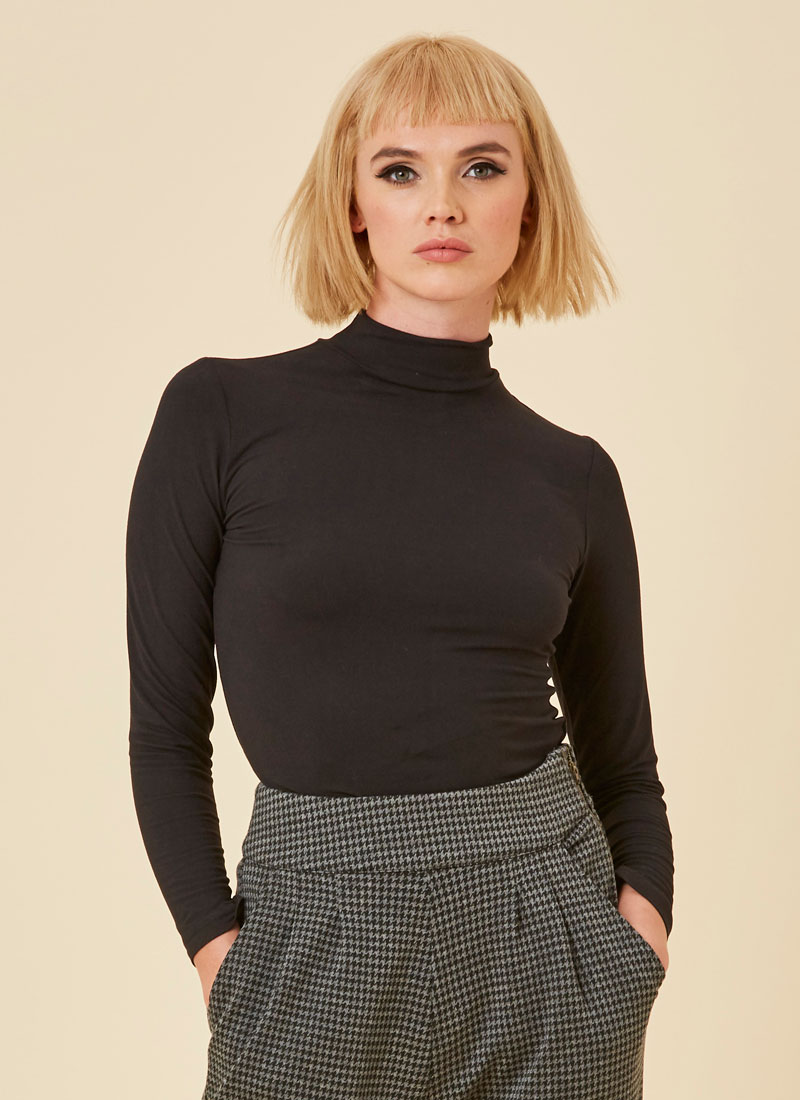 Selina Roll Neck Bodysuit - Black