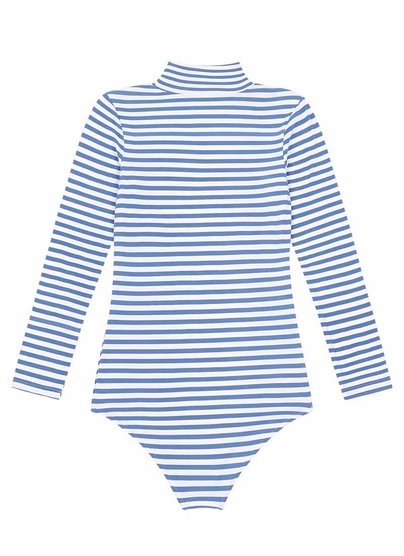 Selina Roll Neck Body Suit Blue Stripe Product Back