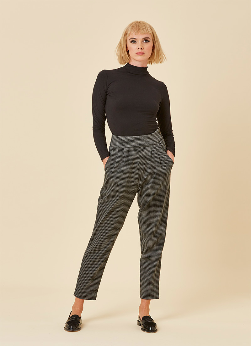 Peggy Check Peg Trousers – Grey